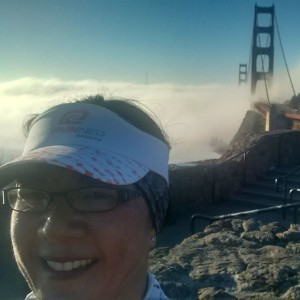 Running across the Golden Gate Bridge